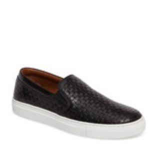 Aquatalia Women's Black Ashlynn Embossed Slip-on Sneaker size 8.5